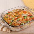 Chicken and broccoli casserole with red peppers cheese Royalty Free Stock Photography