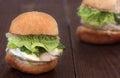 Chicken burger with basil pesto Stock Image