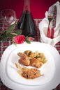 Chicken cacciatore with boiled zucchini and tomato Royalty Free Stock Photo