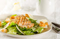 Chicken caesar salad on the white plate Stock Photos