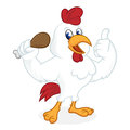 Chicken cartoon holding fried chicken and giving thumb up