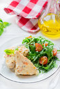 Chicken casserole with vegetables served green salad selective focus Royalty Free Stock Images