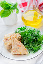 Chicken casserole with vegetables served green salad selective focus Stock Image