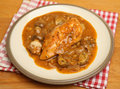 Chicken chasseur casserole classic french with mushrooms shallots wine and herbs Stock Images