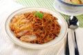 Chicken chop spaghetti Royalty Free Stock Photo