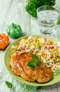 Chicken chops with rice and vegetables Royalty Free Stock Photo