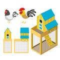 Chicken coop illustration set