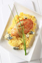 Chicken with couscous and blue cheese seared breast served Stock Photography