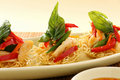 Chicken On Crispy Noodles Stock Image