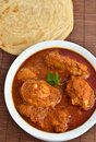 Chicken curry indian dish of with parotha Royalty Free Stock Photos