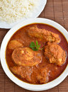 Chicken curry indian dish of with rice Royalty Free Stock Photo