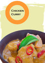 Chicken curry on a wooden bowl red thai Stock Images