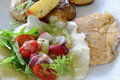 Chicken cutlet, baked potatoes, salad and mozzarella cheese. Royalty Free Stock Photo