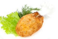 Chicken cutlet on a white background Royalty Free Stock Photo