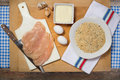 Chicken cutlets preparation of breast with breadcrumbs eggs and cheese Royalty Free Stock Photos