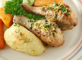 Chicken Drumsticks And Vegetables Stock Photography