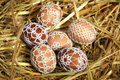Chicken easter eggs decorated handmade lace tatting beads Royalty Free Stock Photography