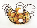 Chicken egg basket wire shaped Stock Photography
