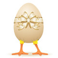 Chicken in egg with bow little illustration Stock Photography