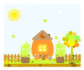 Chicken and egg. Easter card. Vector illustration. Royalty Free Stock Photography