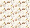 Chicken and egg kawaii background