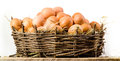 Chicken eggs in basket isolated. Organic food Royalty Free Stock Photo