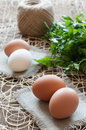 Chicken eggs, bunch of parsley and twine Royalty Free Stock Photo