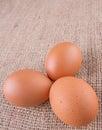 Chicken eggs iii on gunny sack Stock Photography