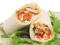 Chicken fajita tortilla wrap sandwich Stock Photo