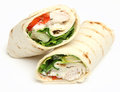 Chicken fajita wrap sandwich isolated on white Royalty Free Stock Photo