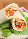 Chicken fajita wrap sandwich with lettuce Royalty Free Stock Photo