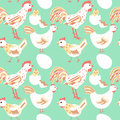 Chicken family seamless pattern Royalty Free Stock Photo