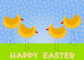 Chicken on a Field Happy Easter Card Royalty Free Stock Photography