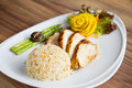 Chicken fillet with fried rice on white plate Royalty Free Stock Photo