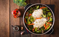 Chicken fillet with vegetables steamed. Royalty Free Stock Photo