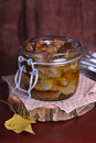 Chicken gizzards confit in olive oil a glass jar Royalty Free Stock Photography