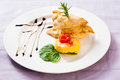 Chicken gourmet a colorful dish of fillet in creamy cheese batter with a side portion of fried potato and cheese fritter and fresh Stock Images