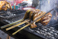 Chicken grill part of grilled on hot fire Royalty Free Stock Images