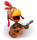 Chicken and guitar Stock Photography