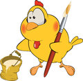 Chicken the house painter cartoon Royalty Free Stock Images