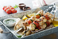 Chicken kabobs on a tray Royalty Free Stock Photo