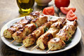 Chicken kebab on plate Royalty Free Stock Photo