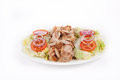 Chicken kebab with salad Royalty Free Stock Photo