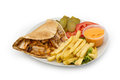 Chicken kebab shawarma plate white Royalty Free Stock Photography