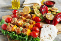 Chicken kebab skewer with grilled vegetables barbecue Royalty Free Stock Photo