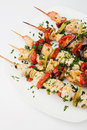 Chicken kebab on skewers Stock Photos