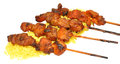 Chicken Kebabs With Rice Royalty Free Stock Photo