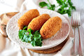 Chicken Kiev cutlets with parsley leaves. Ukrainian tradition food.