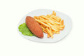 Chicken Kiev with french fries isolated on white plate Royalty Free Stock Photo