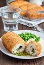 Chicken Kiev, ukrainian cuisine. Cutted chicken cutlet in bread Royalty Free Stock Photo